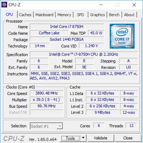 MSI GS65 CPU-Z