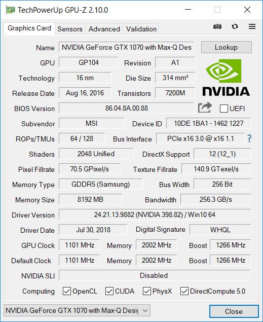MSI GS65 GPU-Z