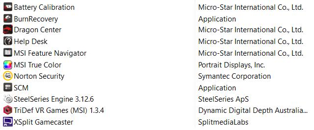 Předinstalovaný software v MSI GS65