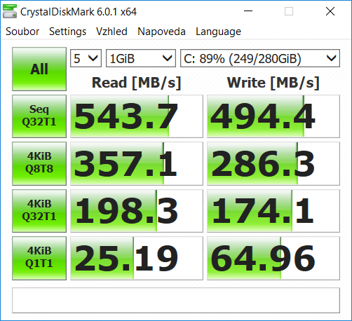 CrystalDiskMark benchmark MSI GS65