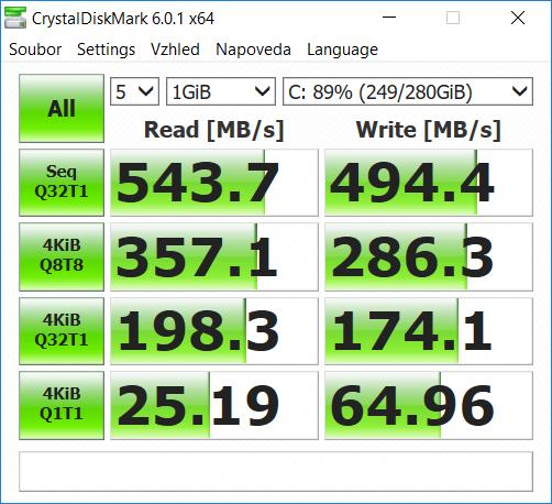 CrystalDiskMark benchmark MSI GS65