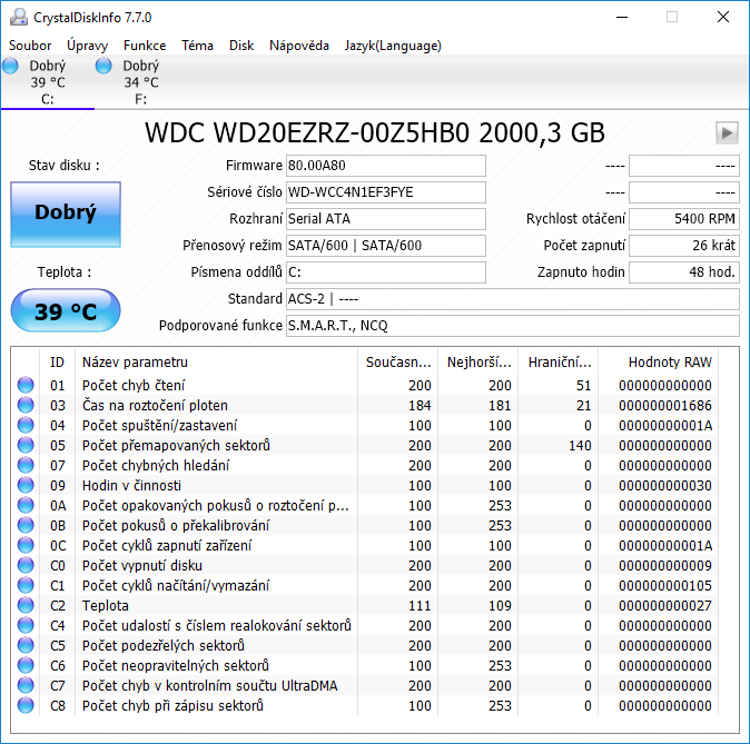 WD Blue HDD Crystal Disk Info