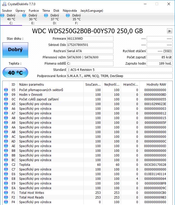 WD Blue M.2 SATA SSD Crystal Disk Info