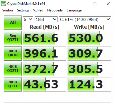 WD Blue M.2 SATA SSD Crystal Disk Mark