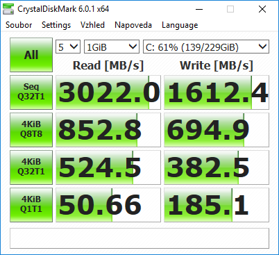 WD Black M.2 NVMe SSD Crystal Disk Mark