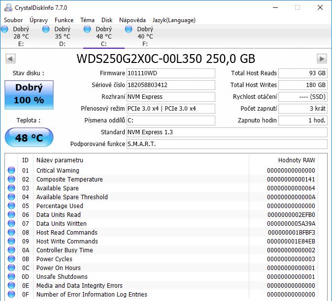 WD Black M.2 NVMe SSD Crystal Disk Info