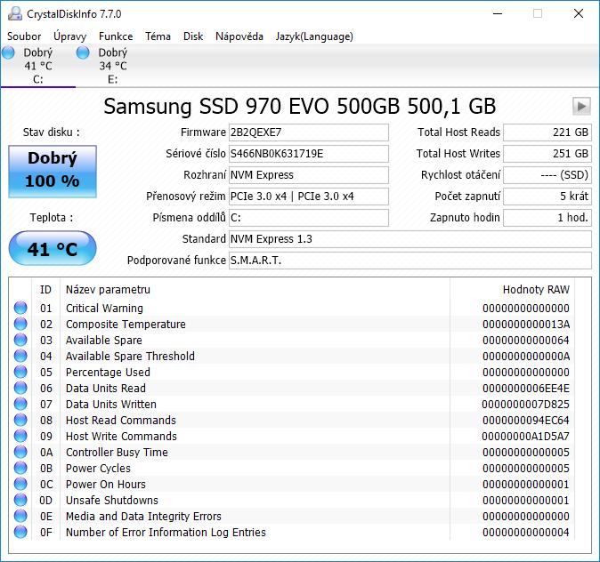 Samsung 970 EVO M.2 NVMe SSD Crystal Disk Info