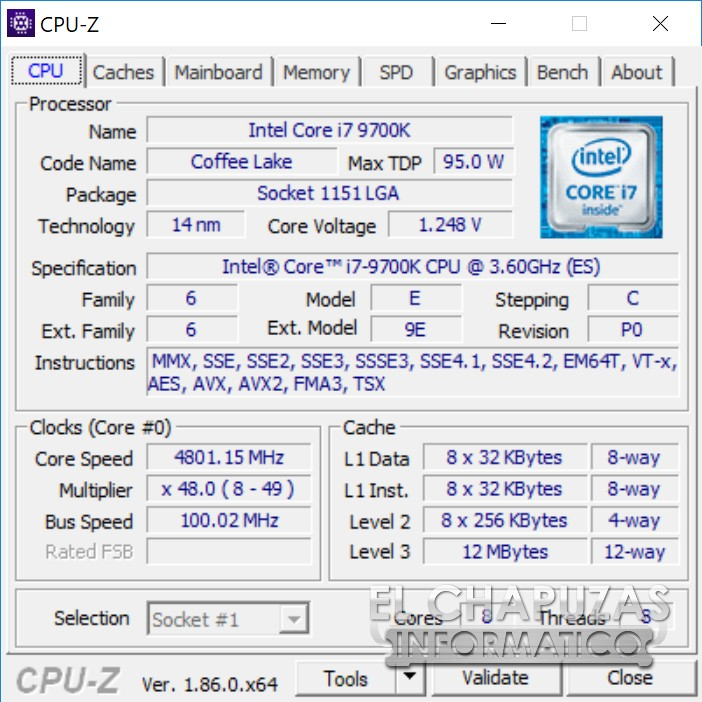 CPU-Z Intel Core i7-9700K