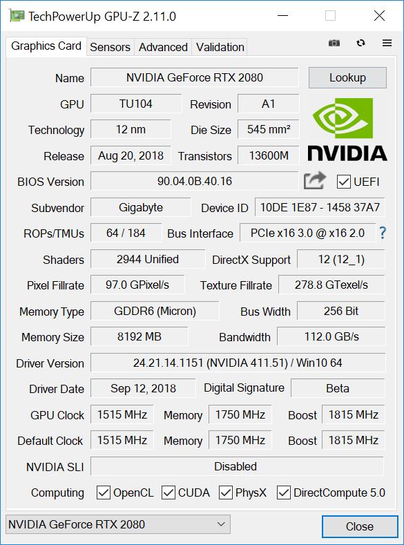 GPU-Z Nvidia GeForce RTX 2080 Gigabyte OC