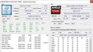 Testovací sestava se Sapphire Radeon RX 590 Nitro+ Special Edition (HWInfo)