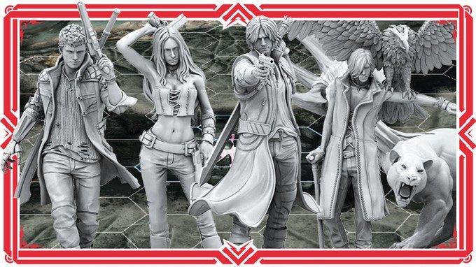 Dante, Nero, Trish a V jako krásné figurky v deskovce Devil May Cry: The Bloody Palace