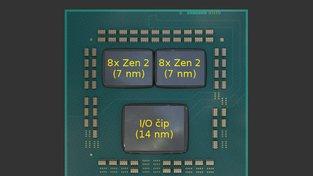 Schéma čipletové architektury - 16 jader Ryzen 3000