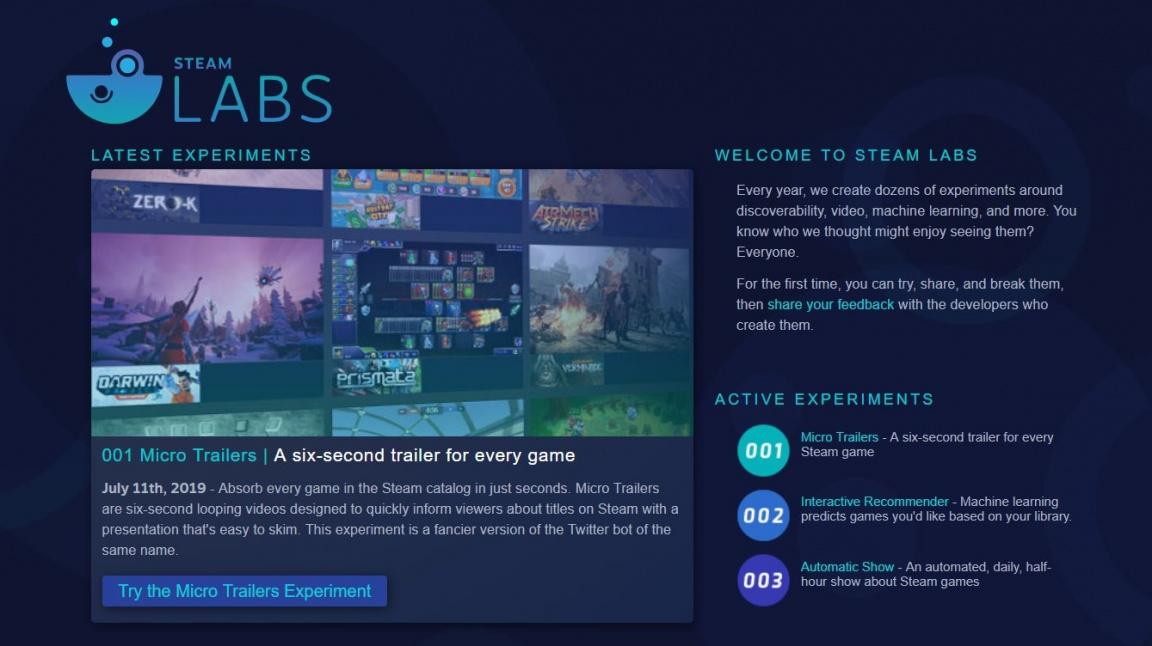Ve Steam Labs ochutnáte nové prvky redesignovaného Steamu