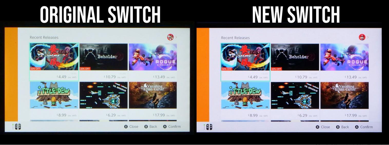 Srovnání displejů Nintendo Switch: starší a nová revize