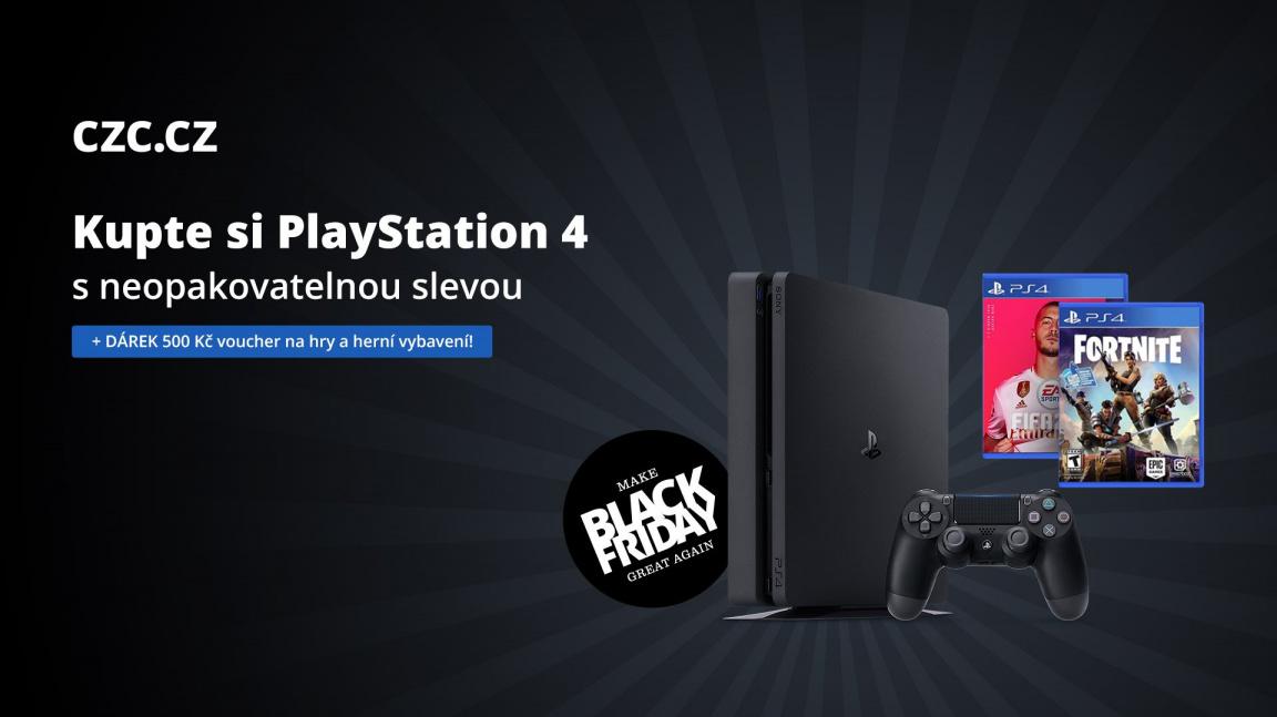Získejte ty historicky nejlevnější konzole PlayStation 4 v Black Friday na CZC.cz + vouchery na 5× 100 Kč jako dárek ke každé objednávce