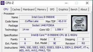 CPU-Z Acer Predator Helios 700