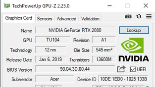 GPU-Z Acer Predator Helios 700