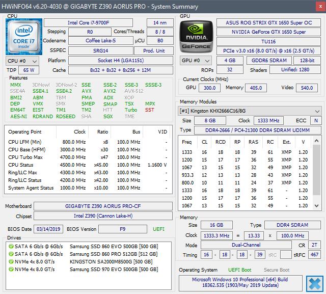 HWInfo testovací sestava GeForce GTX 1650 Super