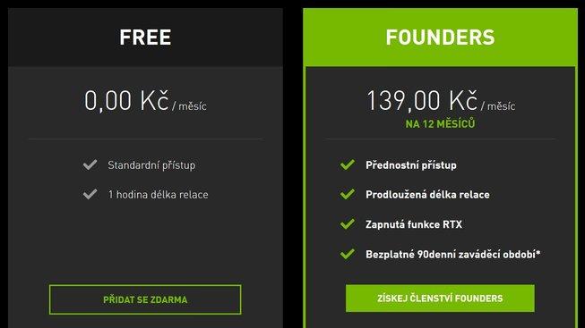 GeForce NOW ceny