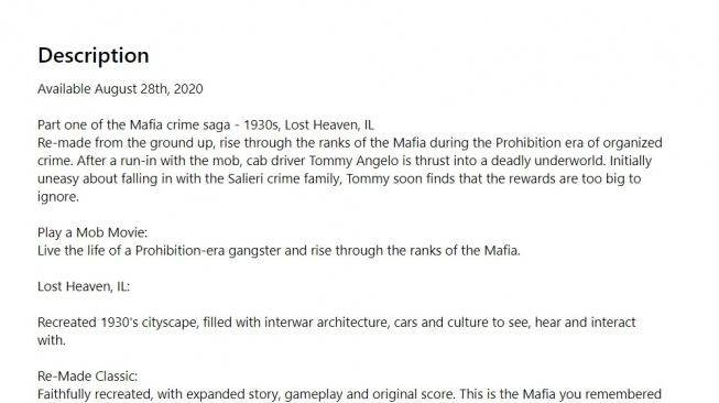 Mafia: Definitive Edition leak