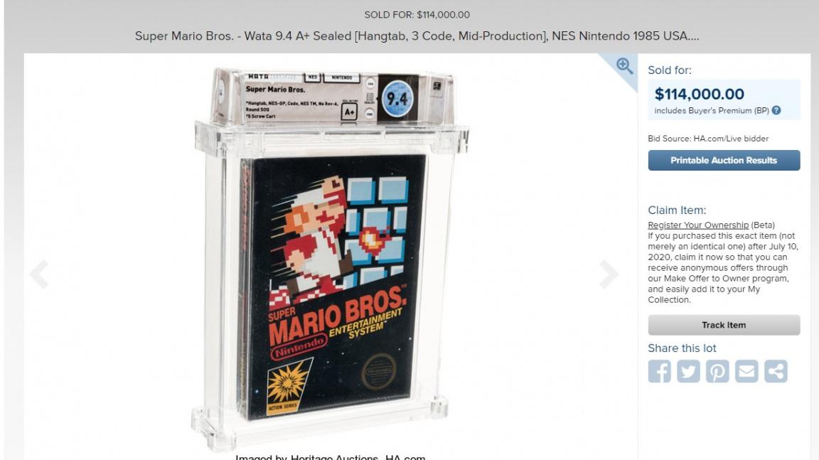 Ještě zabalený 35 let starý Super Mario Bros. se stal nejdražší hrou na světě