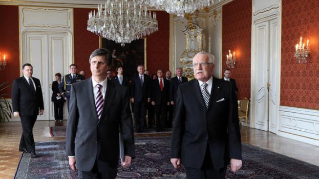 Foto: vlada.cz Jan Fischer a Václav Klaus po jmenování