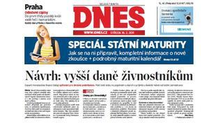 Se zprávou o zvyšování daní pro živnostníky přišla ve středu Mladá fronta DNES, Foto: