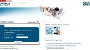 V internetovém bankovnictví jste současně vyzvání, abyste zadali autorizační SMS kód na nezvyklém místě (viz. ukázka v obrázku). Foto: ČSAS
