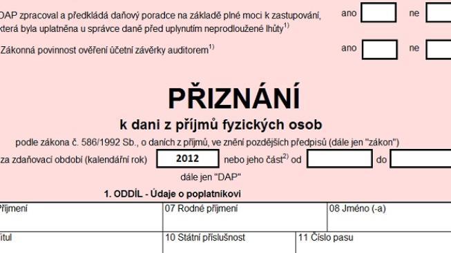 Stáhněte si interaktivní formulář pro daňové přiznání za rok 2013, Foto:NašePeníze.cz