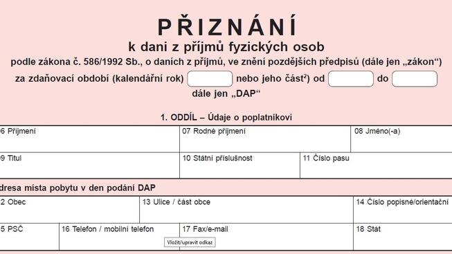 Daňové přiznání za rok 2015 - formulář ke stažení