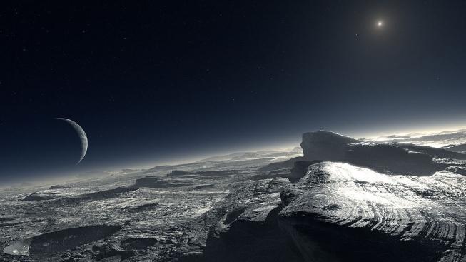 Výtvarníkova představa nebe nad Plutem, vpravo září vzdálené Slunce, vlevo nad obzorem číhá měsíc Charon