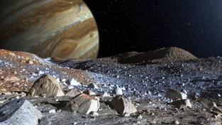 Výtvarná představa zamrzlého povrchu Jupiterova měsíce Europa