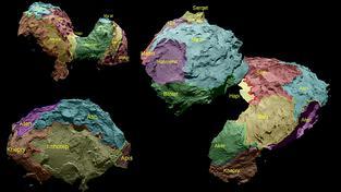 Jednotlivé oblasti komety byly přehledně rozparcelovány