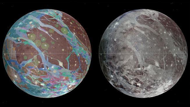 Geologická mapa Ganymeda, který je dvakrát hmotnější než náš Měsíc