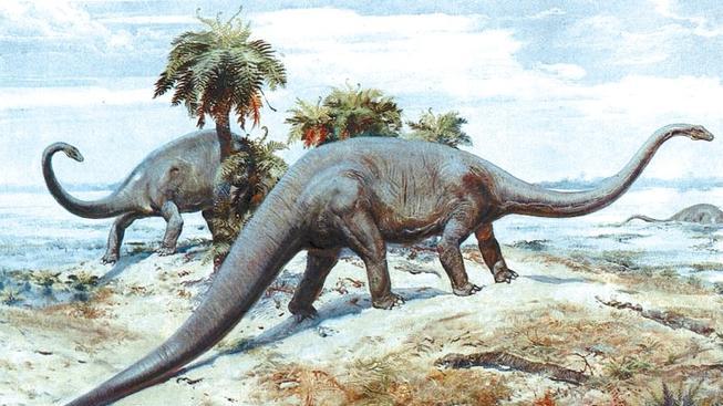 Takhle si Brontosaura představoval slavný český malíř Zdeněk Burian