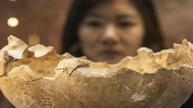Na lebce jsou patrné stopy po lidských zubech