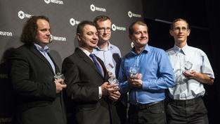 Ocenění (zleva) Petr Koura, Jaroslav Hrabák, Jan Macák, Stanislav Hencl a Hynek Němec