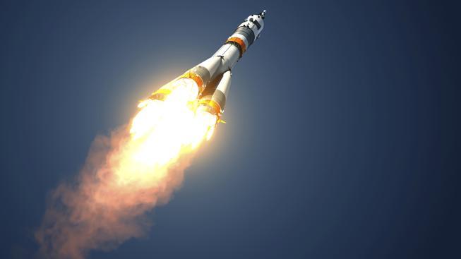 Jeden z typů rakety Sojuz při cestě do vesmíru. Ilustrační foto