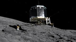 Sonda Philae krátce po přistání na kometě Čurjumov-Gerasimenko