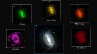 Snímek zachycuje různé vlnové délky záření typické galaxie při sběru dat v rámci projektu GAMA