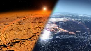 Pohled na Mars dnes (vlevo) a obrázek planety tak, jak mohla vypadat kdysi dávno