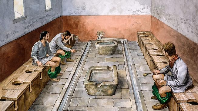 Rekonstrukční kresba římských latrin, autor: Philip Corke