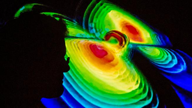 Vizualizace gravitačních vln na tiskové konferenci v Institutu Maxe Plancka pro gravitační fyziku v Hanoveru