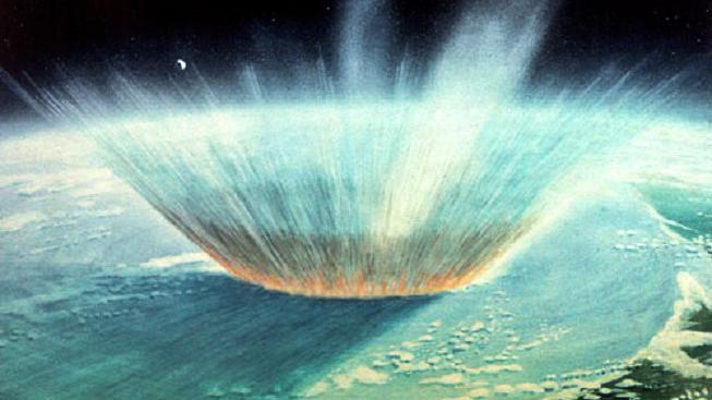 Ilustrace nárazu asteroidu Chicxulub do Země