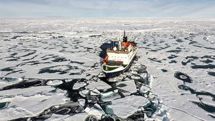 Německý vědecko-průzkumný ledoborec 'Severní hvězda' plující u severního pólu