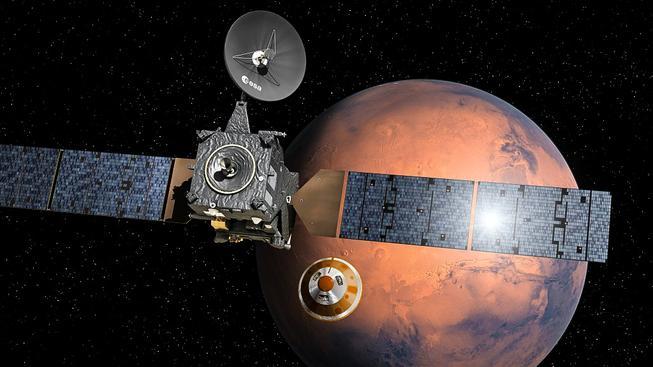 Ilustrace oddělení modulu Schiaparelli sestupujícího na Mars od družice Trace Gas Orbiter (TGO)