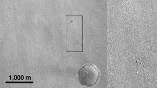 Pohled americké sondy Mars Reconnaissance na místo dopadu evropského modulu