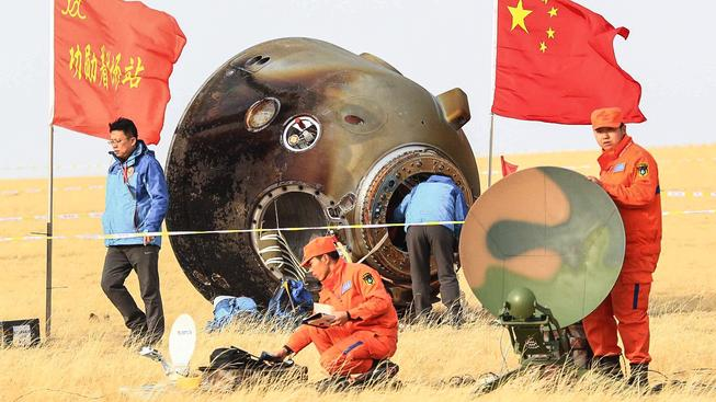 Čínský přistávací modul v mongolské stepi