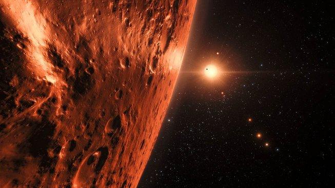 Umělecká představa systému TRAPPIST-1