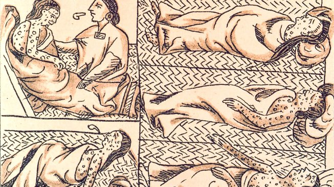 Ilustrace z Obecné historie věcí království Nové Španělsko (1575-1580) Bernardina de Sahagúna znázorňující epidemii na území dnešního Mexika